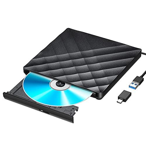Gueray Unidad de DVD Externa con convertidor USB 3.0 y Tipo C Unidad de CD...