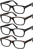 Reading Glasses Set of 4 Quality Readers Spring Hinge Glasses for Reading for Men and Women Set of 2 Black and 2 Havana +1.25