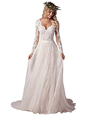 ❃Features: Bohe Lace Long Sleeve Wedding Dress for Bride 2021, Beach V Neck Backless Bridal Wedding Gowns for Women, A Line, Scalloped V-neckline, Scalloped V-back, Soft Tulle Skirt, Long Illusion Lace Sleeve, Natural Waistline, Floor Length, Sweep T...