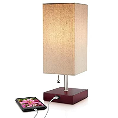 COOL LAMPS: Nice reading or ambient lighting for bedroom lamp, kids lamp, or office lamp. CHARGING: USB port provides 2.1 amp quick charge for phones & regular charge for notebooks. QUALITY: Wood bases, textured linen tape-less shades & pull chains a...