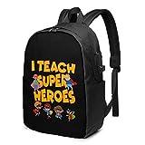 Lsjuee I Teach Super Heroes Gift for Teacher Travel Laptop Mochila con Puerto de Carga USB para Mujeres, Hombres, Escuela, Universidad, Estudiantes, Mochila para computadora portátil de 17 Pulgadas