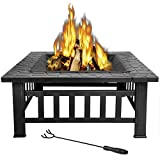 LEMY 32 inch Outdoor Square Metal Firepit Backyard Patio Garden Stove Wood Burning BBQ Fire Pit with...