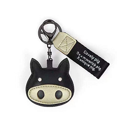 キーホルダー、可愛い子豚のキーホルダーの革製。