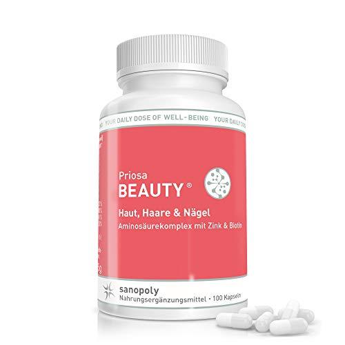 SANOPOLY Priosa® BEAUTY 100 Kapseln I Nährstoff-Mix für Haut, Haare, Nägel, Knochen & Gewebe I Biotin, Q10, Zink, Kieselerde, Aminosäuren & Vitamine, alles was die Haut braucht I Geprüfte Qualität, Vegan