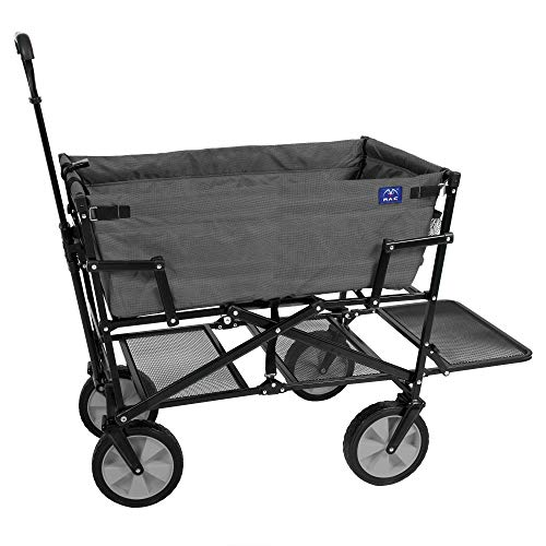 MacSports Double Decker Collapsible Outdoor Utility Wagon | Folding Pull Cart, for Sports Baseball Pool Camping Fishing, Collapsable Fold up Wagon with Wheels, Heavy Duty Steel, Two Tone Gray