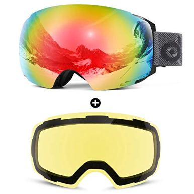 Odoland-Magnetic-Interchangeable-Ski-Goggles-with-2-Lens-Large-Spherical-Frameless-Snow-Goggles-for-Men-Women-OTG-and-UV400-Protection-Black-Frame-Mirror-Red-and-Yellow-Lens