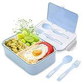 Lunch Box, Porta Pranzo, 1400ml Kids Bento Box con 3 Scomparti e Posate(Forchetta e Cucchiaio),...