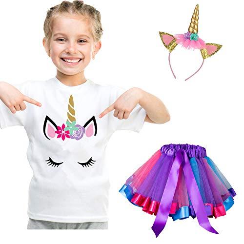 NNJXD Vestido de Unicornio para niña pequeña, Camiseta de algodón + Falda tutú con Arco Iris + Gorros y Sombreros, Vestido Informal de Verano Talla 3-4 años A-Morado