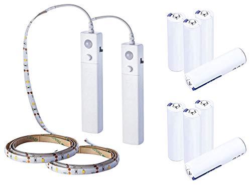 LEDLUX 2 Kit Striscia Led a Batteria 6V 2,4W Con Sensore Movimento IP65 1 Metro 30 SMD 2835 Per...
