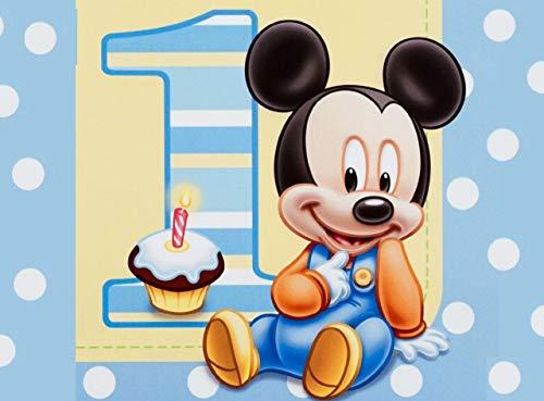 Cialda per torta Baby Topolino 1° Compleanno decorazione alimentare senza glutine personalizzazione grafica inclusa topper cake design (formato rettangolare (Ostia, 20 x 30 cm)