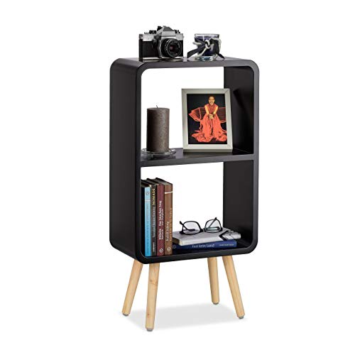 Relaxdays 10021931_46 Scaffale a 2 Ripiani, Libreria per Soggiorno o Cameretta, Gambe in Legno,...