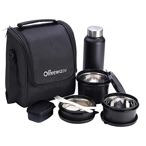 Oliveware Teso Lunch Box with Bottle - Black | 3 Stainless Steel Containers and Pickle Box and...