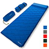 MalloMe Sleeping Pad Camping Air Mat  Inflating Mattress Bed for Backpacking Adults  Inflatable Ultralight Insulated Soft Foam Sleep Gear - Lightweight Travel Cot Roll Mats Accessories Blue