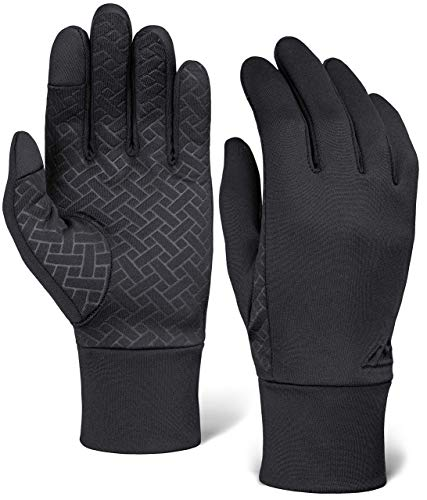 Running Gloves with Touch Screen - Black Winter Glove Liners for Texting, Cycling, Driving for Men & Women - Thin, Lightweight & Warm Cold Weather Thermal Sports Gloves - Two Finger Touchscreen Gloves