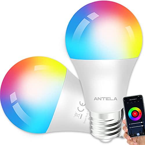ANTELA Bombilla Inteligente LED E27 Wifi 9W Compatible Con Google...