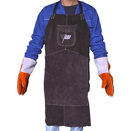 Vector Welding Tablier de protection en cuir véritable pour soudure TIG / MIG / MAG / MMA / Plasma