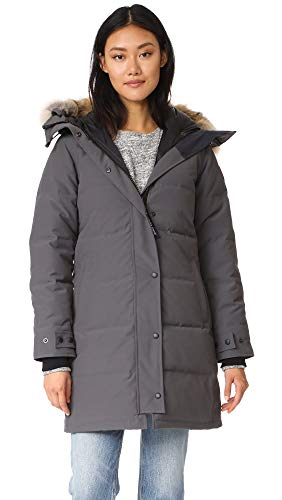 41eJA++hiYL Slim-fit parka featuring full-length concealed zip-and-snap placket and hood with removable coyote-fur ruff Two front fleece-lined hand pockets with interior snap closure Adjustable snap cuffs