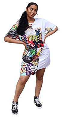 Material- Polyester venetian + Spandex Features- Crewneck, short sleeves, irregular hem, graffiti cartoon and letter print, above knee length tunic shirt dress Design- This White and white colorblock graffiti shirtdress is of cute high low asymmetric...