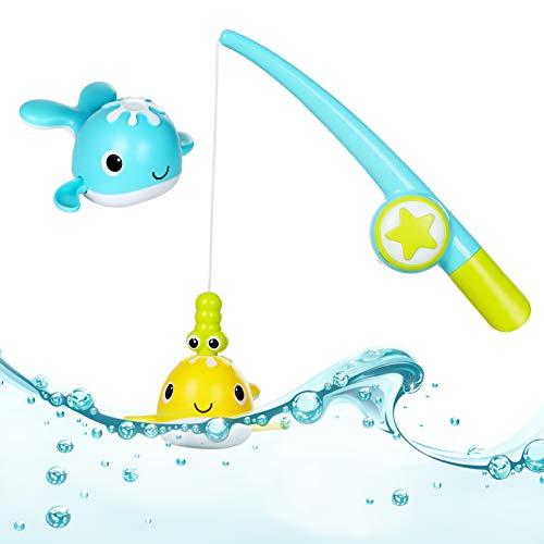 BAQSOO Giocattolo da Bagno da Pesca per Bambini, Giochi di Pesca Magnetici con 2 Pesci Carini e Canna da Pesca, Balene a Molla Giocattoli da Bagno per Bambini Piscine da Bagno Ragazzi Ragazze