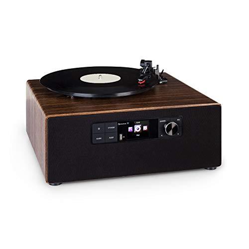 AUNA Connect Vinyl Cube - Giradischi, Lettore Vinili, 40 W max., Smart Radio: Internet / DAB+/FM,...