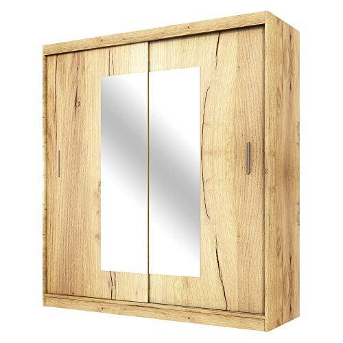 Selsey Vaniva - Armadio - 2 ante scorrevoli - rovere lancaster - 180 cm - con specchio