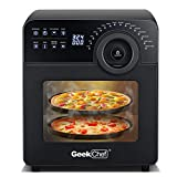 Geek Chef Air Fryer Toaster Oven, 16 in 1 Digital Airfryer Oven with Rotisserie and Dehydrator, Roast, Bake, Broil, 1 Rotary Knob Easy Operation, Fry Oil-Free, 8 Accessories & Recipe Included, Black,15 QT