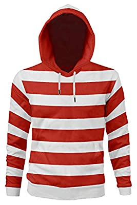 Red and White Striped Costume Adult Funny Sweatshirt Long Sleeve Shirt Tee Glasses Hat Cap Suits MATERIAL:100% Cotton Including:Shirt + Hat + Glasses.(No accessories for T-shirt and hoodie) SIZE:Pleasee kindly check the size details in the DESCRIPTIO...