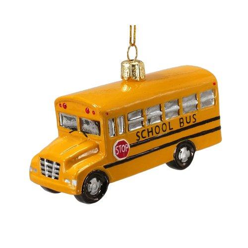 Noble Gems Kurt Adler 4-Inch Glass School Bus Ornament