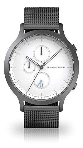 Lilienthal Berlin Chronograph Armbanduhr (Gehäuse: Dark Silver/Zifferblatt: weiß/Armband: Dark Silver)