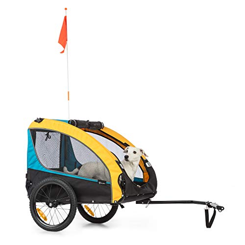 Klarfit Husky Race Fahrrad-Hundeanhänger,ca. 282 L Volumen,Material: 600D Oxford Canvas mit wasserdichter PVC-Beschichtung,SmartSpace Concept: faltbar,maximale Belastbarkeit: 40 kg, blau/gelb