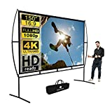 Projector Screen, Outdoor Projector Screen 150 Inch 16:9 4K HD Foldable Projector Screen with...