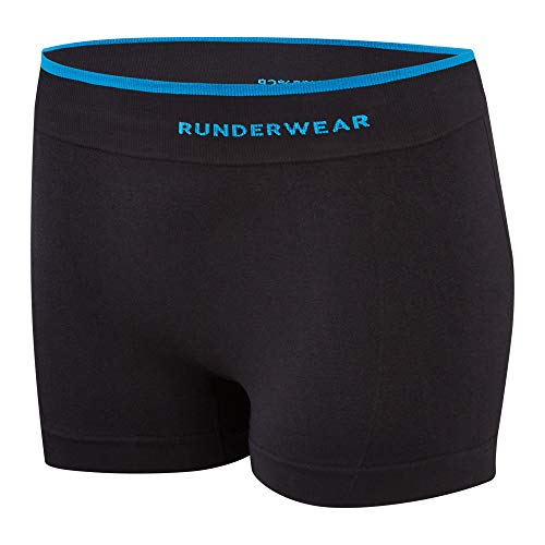 Runderwear Women's Hot Pants - Seamless, Chafe-Free Running Underwear (Black, Large)