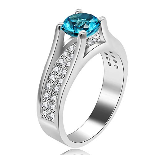Uloveido Women Platinum Plated Round Cut Simulated Blue Aquimarine Gemstone Promise Engagement Rings for Her Wedding Jewelry Valentine's Gifts for Girls Girlfriend (Blue, Size 7) Y006
