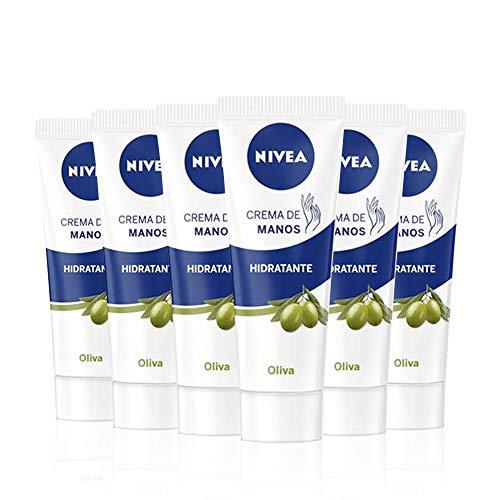 NIVEA Crema de Manos Hidratante Aceite de Oliva en pack de 6 (6 x 100 ml), crema para el...