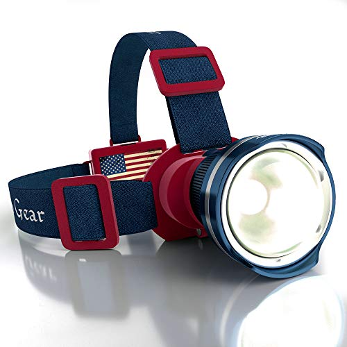 Patriotic American Flag Super Bright LED Headlamp Flashlight - Brightest Spotlight Headlight - Zoomable Tiltable Adjustable - Camping Hiking Caving Hunting Fishing Head Light - Old Glory (Blue-Red)