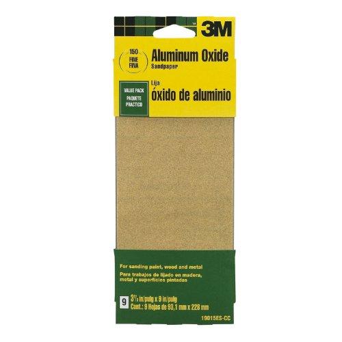 3M 19015ES-CC 3-2 / 3 x 9-inç İnce Kum Alüminyum Oksit Boya, Ahşap, Metal Zımpara Kağıdı, 9'lu Paket
