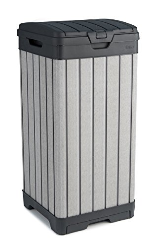 Keter Rockford Resin 38 Gallon Trash Can with Lid and Drip Tray for Easy Cleaning - Perfect for Patios, Kitchens, and Outdoor Entertaining, Grey