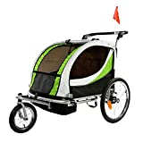ClevrPlus Deluxe 3-in-1 Double 2 Seat Bicycle Bike Trailer Jogger Stroller for Kids Children | Foldable w/Pivot Front Wheel, Green