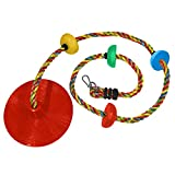 Jungle Gym Kingdom Rope Swing - Tree Climbing Ropes & Disc Swings for Kids w/ Red Seat for Swinging – Outdoor Playground Set w/ Carabiner & 4ft Strap - Treehouse Accessories