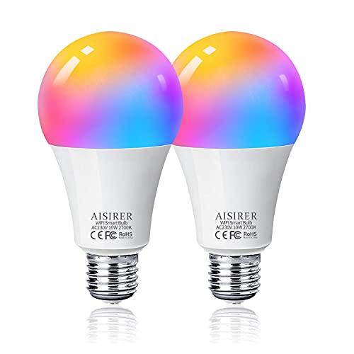Bombilla LED Inteligente WiFi, AISIRER 10W 1000LM E27 Lámpara,...