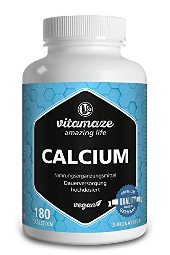 Calcium Tabletten hochdosiert, 180 Tabletten vegan für 3 Monate, 800 mg Kalzium-Carbonat pro Tagesdosis, Made-in-Germany, ohne Magnesiumstearat