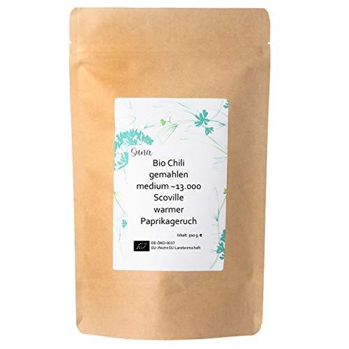 Suna Bio Chili gemahlen medium ~13.000 Scoville | warmer Paprikageruch | Großpackung 500 g