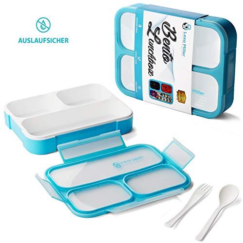 Lexa Miller bento Lunchbox mit fächern. Brotdose mit 3 Unterteilungen. Vesperdose mit trennwand. BPA Frei brotbox I Jausenbox für Kinder und Erwachsene I Geruchs und Geschmacksneutral. Ebook inkl.