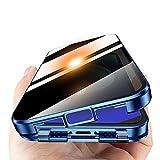 覗き見防止 iPhone 12pro ケース 耐衝撃 クリア アルミバンパー ガラスケース ロック式 iPhone……
