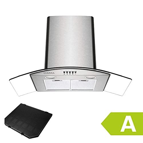 CIARRA CBCS9506B Cappa Aspirante 90cm cappa cucina 90 cm (Potenza di Aspirazione pari a 650 m/h, Design Accattivante) - Argento