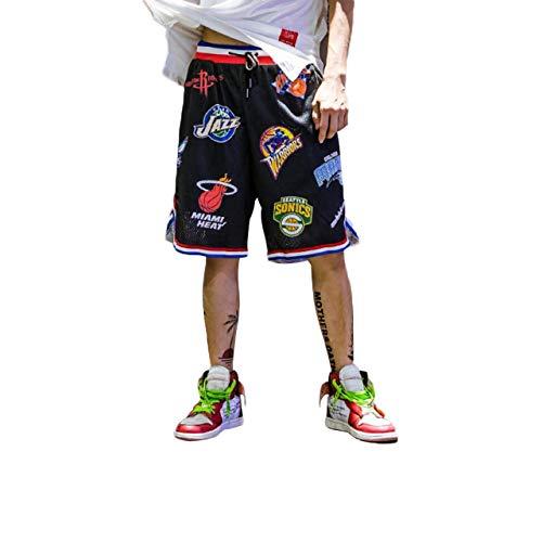 Irypulse Herren Basketballshorts aus Atmungsaktives Mesh Stoff, Sommer Straßenmode Shorts für Jugendliche und Jungen, Lose Sport Joggen Shorts Drucken Kurze Hose - Original Design,XL,Schwarz