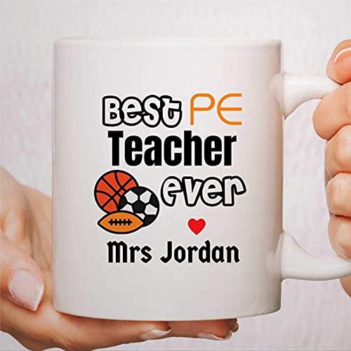 Profesor de educación física presenta una taza de café personalizada para el maestro Mejor maestro de educación física, agradecimiento, regalos de agradecimiento al maestro, regalos de fin de curso es