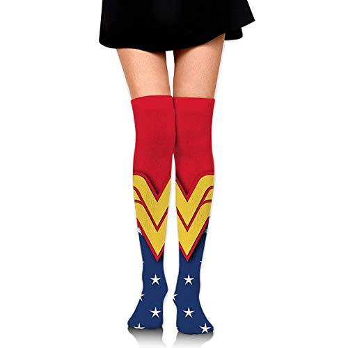 AOOEDM Wonder Woman Calze Calze alte alla coscia Calze alte al ginocchio Calze a compressione per ragazza Calze sportive da donna Calze unisex Outdoor