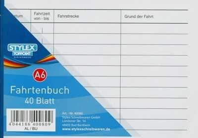 3 Fahrtenbücher DIN A6 Stylex Fahrtenbuch 40 Blatt