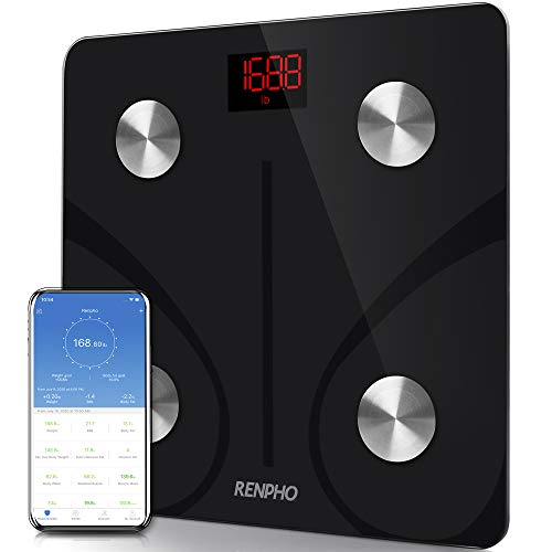 RENPHO Body Fat Scale Smart BMI Scale Digital Bathroom Wireless Weight Scale, Body Composition Analyzer with Smartphone App sync with Bluetooth, 396 lbs - Black 1